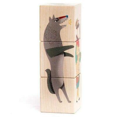 Bajo képkirakó kocka fajáték - Piroska és a farkas