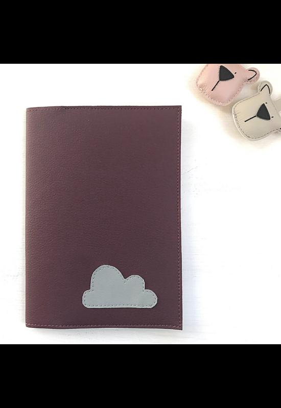 ESKA Egészségügyi kiskönyv borító - Sötétmályva/világosszürke felhő (12.5 x 17.5 cm)