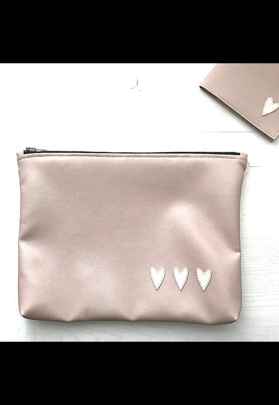 ESKA textilbőr/PUL maxi neszesszer - Rózsaszín/törtfehér szív (30 x 25 cm)