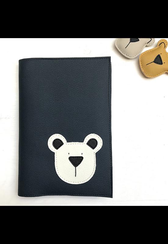 ESKA Egészségügyi kiskönyv borító - Sötétkék/törtfehér maci (12.5 x 17.5 cm)