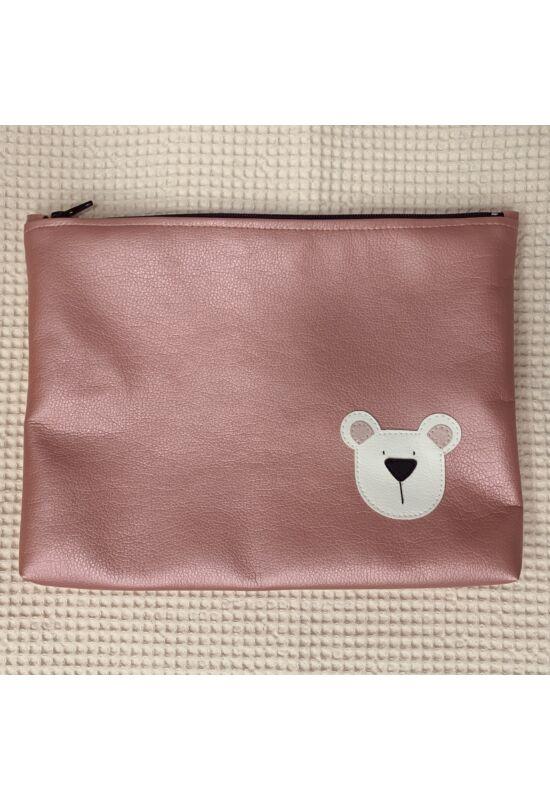 ESKA textilbőr/PUL maxi neszesszer - Metál rózsaszín maci (30 x 25 cm)