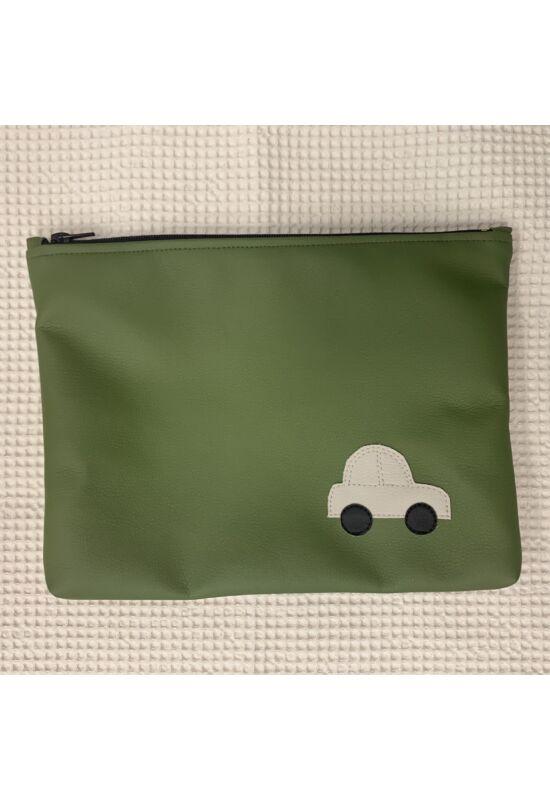 ESKA textilbőr/PUL maxi neszesszer - Zöld autó (30 x 25 cm)