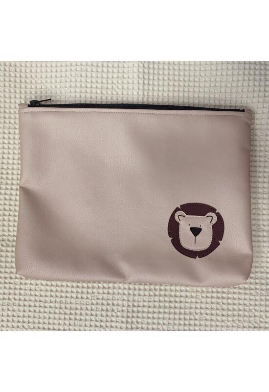 ESKA textilbőr/PUL maxi neszesszer - Világosrózsaszín oroszlán (30 x 25 cm)