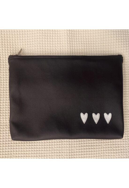 ESKA textilbőr/PUL maxi neszesszer - Fekete szívek (30 x 25 cm)