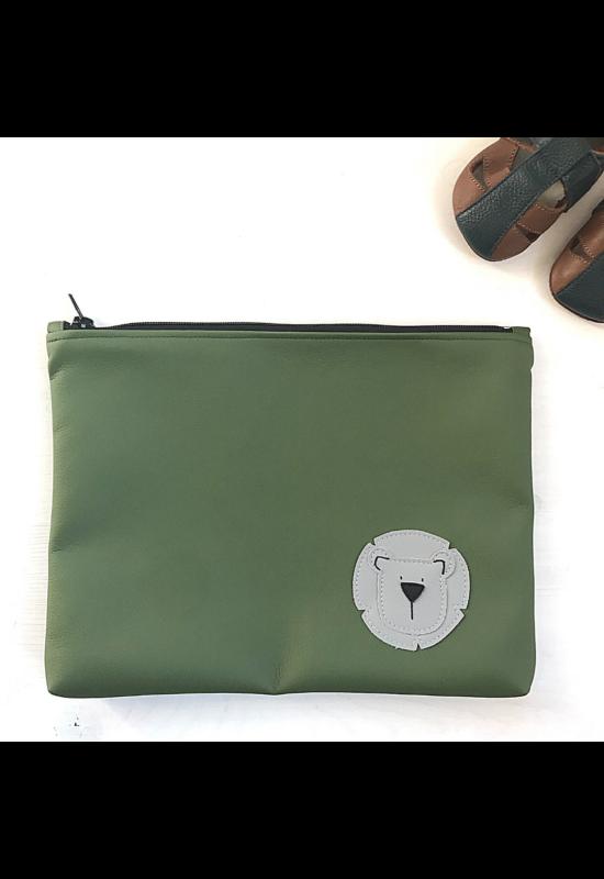 ESKA textilbőr/PUL maxi neszesszer - Zöld/világosszürke oroszlán (30 x 25 cm)
