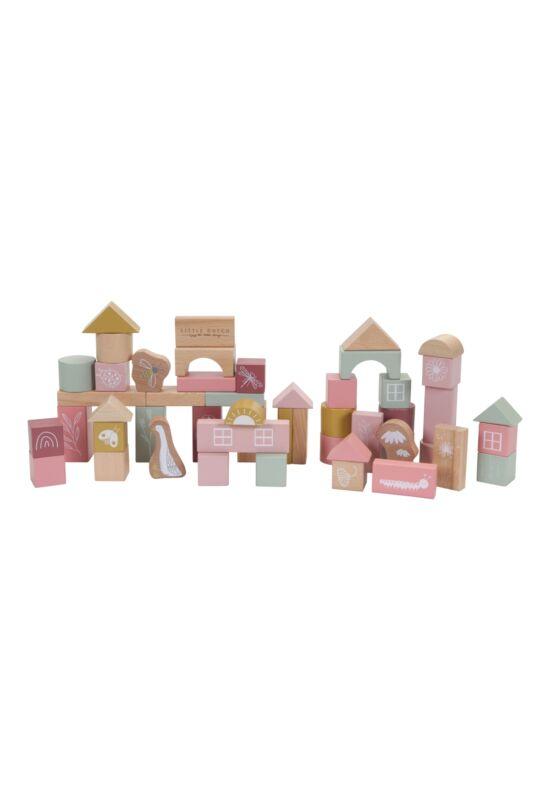 Little Dutch fa építő kocka szett (50db) - pink