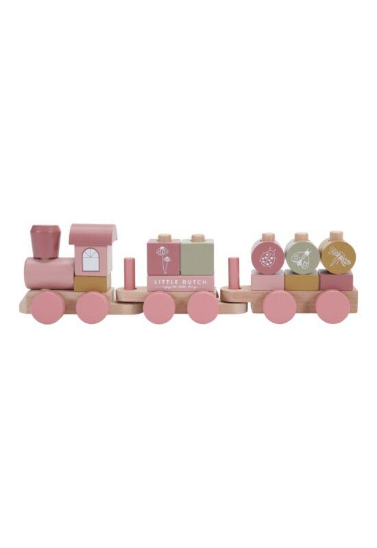 Little Dutch építhető fa vonat - pink