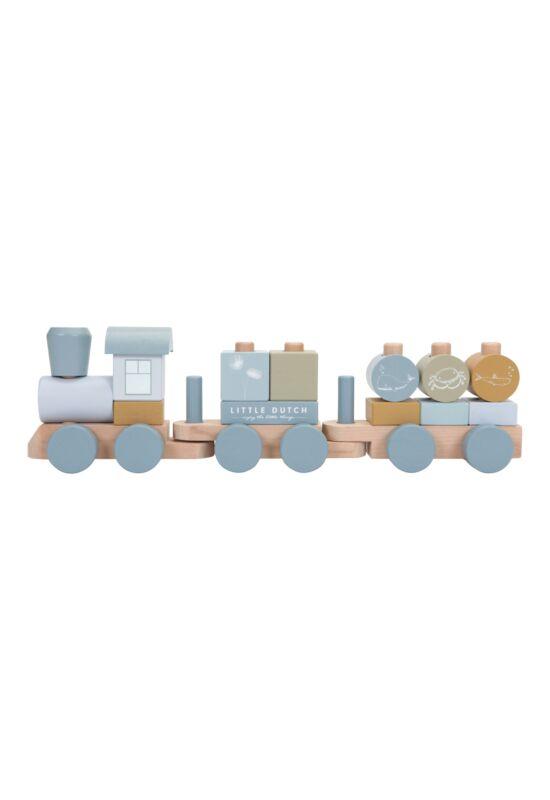 Little Dutch építhető fa vonat - kék