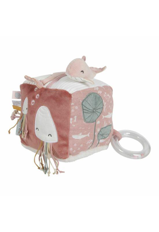 Little Dutch készségfejlesztő plüss kocka - tengeri állatok, pink