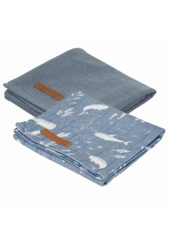 Little Dutch textilpelenka 70x70 - kék óceán