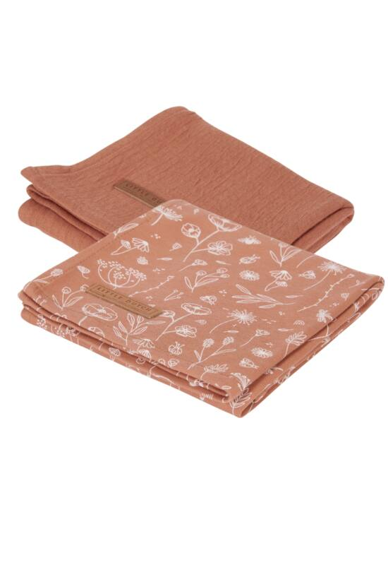 Little Dutch textilpelenka 70x70 - vadvirágok, rozsda