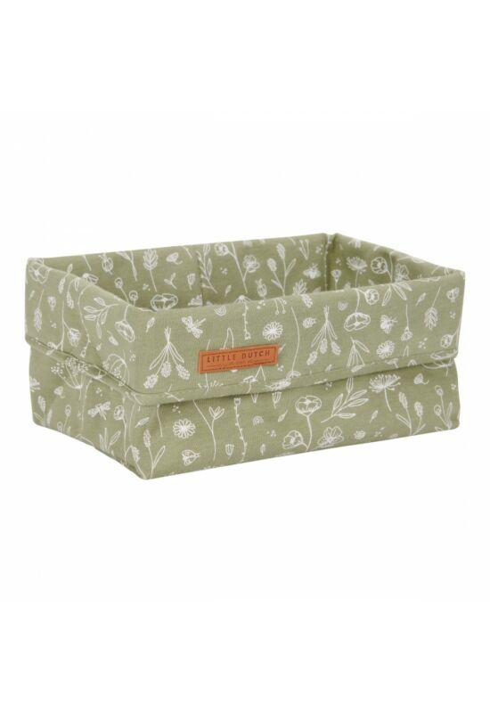 Little Dutch tároló doboz (25x15cm) - vadvirágok, olíva