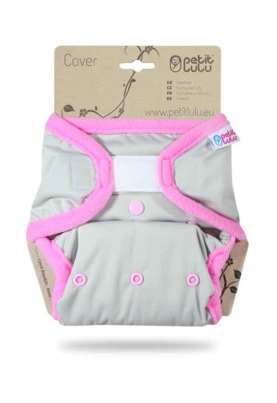 Petit Lulu egyméretes mosható pelenka külső - Grey/pink (4-15 kg)