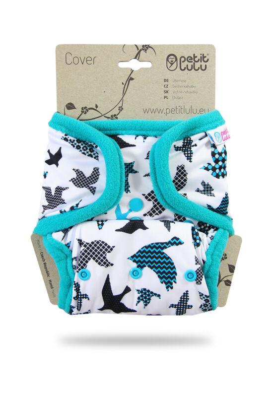 Petit Lulu egyméretes mosható pelenka külső - Turquise birds (4-15 kg)
